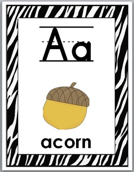 Zebra Theme Classroom Decor - Alphabet Posters with Primary Lined Font