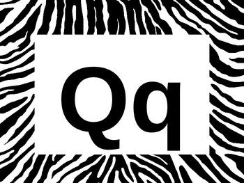 Zebra Alphabet Signs or Flashcards