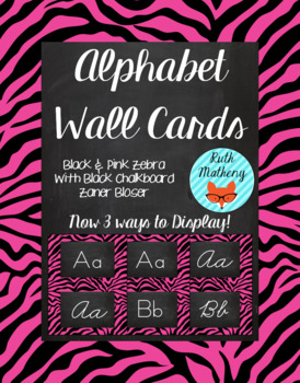 Zebra Alphabet Wall Cards Manuscript & Cursive - Black and Pink