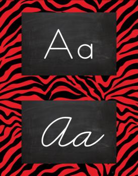 Zebra Alphabet Wall Cards Manuscript & Cursive - Black and Red