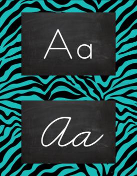 Zebra Alphabet Wall Cards Manuscript & Cursive - Black and Turquoise