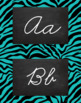 Zebra Alphabet Wall Cards Manuscript & Cursive - Black and
