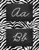 Zebra Alphabet Wall Cards Manuscript & Cursive - Black and White