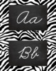 Zebra Alphabet Wall Cards Manuscript & Cursive - Black and White
