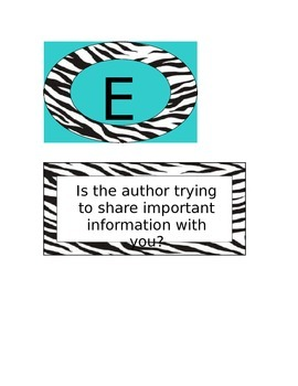 Zebra Author's Purpose with Definitions
