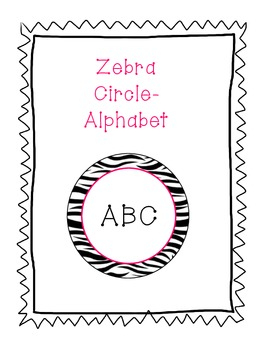Zebra Background Alphabet in Pink Circles