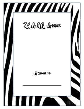 Zebra Binder Cover