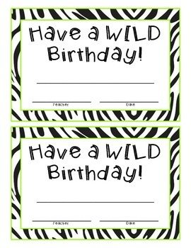 Zebra Birthday Certificate Sign