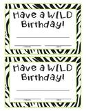 Zebra Birthday Certificate Sign
