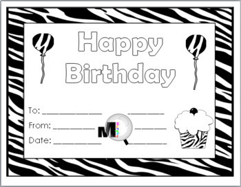 Zebra Theme Classroom Birthday Certificates