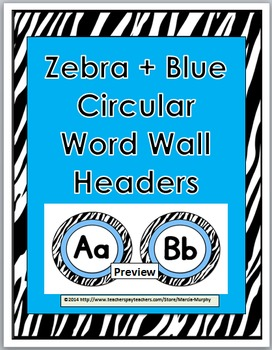 Zebra Theme Classroom Decor with Blue Word Wall Headers