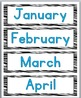 Zebra Theme Classroom Decor with Blue - Days & Months Signs