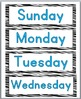 Zebra Theme Classroom Decor-Days of the Week Labels & Months of the Year Labels