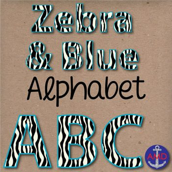 Zebra & Blue Digital Alphabet & Numbers Clip Art Set- Letter Tiles