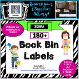 100 + Zebra Classroom Library Book Bin Labels for Primary