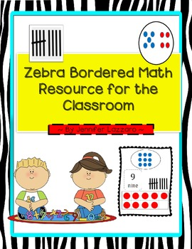 Free! Zebra Bordered Math Resources for Room (Ten Frames,