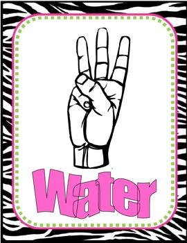 Zebra Bordered Sign Language Signs