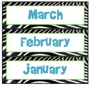 Zebra Calendar Months