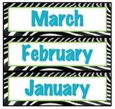 Zebra Calendar Months- Turquoise/Green