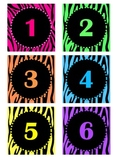 Zebra Calendar Numbers-Zebra theme/bright colors