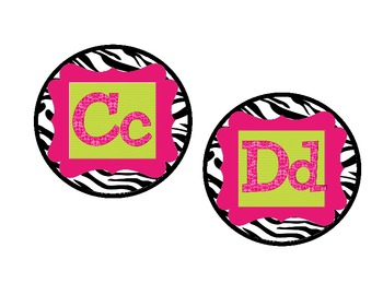 Zebra Chic Pink and Green Word Wall Alphabet