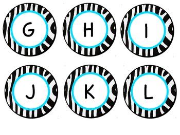 Zebra Circle Letter Labels