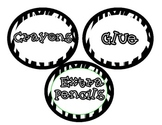 Zebra Circle Supply & Book Labels PLUS Days of the Week