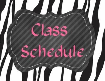 Zebra Class Schedule Cards