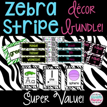 Zebra Classroom Decor Endless Bundle