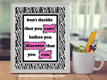 Discover You Can Inspirational Quote Poster Pink & Black Zebra Classroom Decor