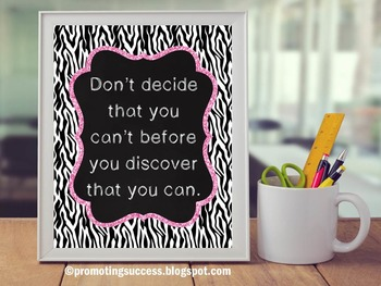 Zebra Themed Classroom Decor Poster, Pink and Black, Inspirational Quote