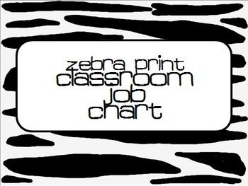EDITABLE Zebra Classroom Job Chart