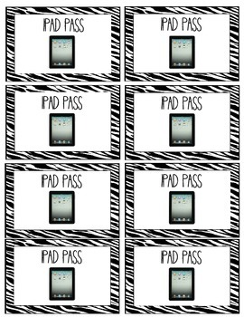 Zebra Classroom Pass Cards- FREEBIE