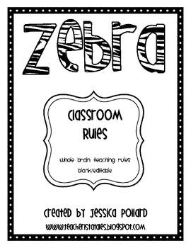 Zebra Classroom Rules Posters {Freebie}