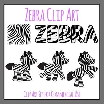 Zebra Clip Art Set for Commercial Use