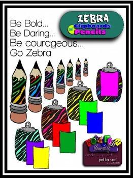 Zebra Clipboards & Pencils Clipart