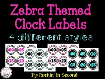 Zebra Clock Labels 4 different styles