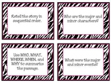 Common Core Guided Reading Task Cards: ZEBRA THEME (grades 4-8)