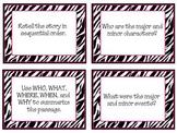 Common Core Guided Reading Task Cards: ZEBRA THEME (grades 4-8)