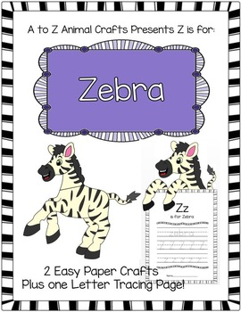 """Zebra Craft and Letter """"Z"""" Tracing Page"""