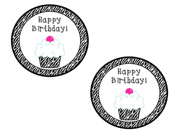 Zebra Cupcake Birthday Bucket