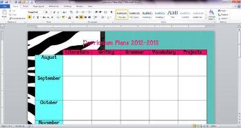 Zebra Curriculum Plans