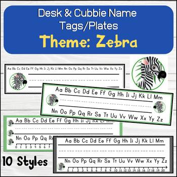 Zebra (Cute Animals) Desk / Name / Cubbie Tags