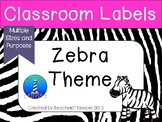 Zebra Decor and Classroom Labels