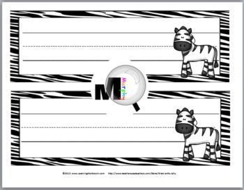Zebra Theme Classroom Decor Desk Plates / Name Labels