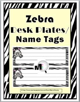Zebra Theme Desk Plates / Name Labels