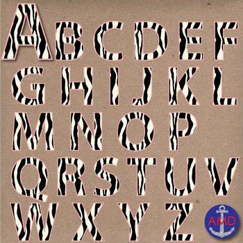 Zebra & Pink Digital Alphabet & Numbers Clip Art Set- Letter Tiles