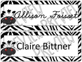 Zebra Editable Name Tags Desk Tags Room Decor
