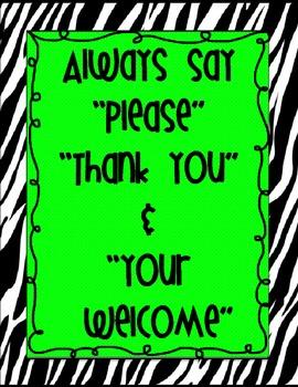 Zebra Etiquette/Manners Posters