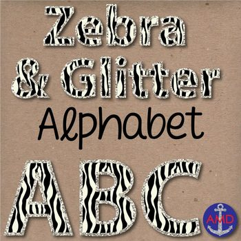 Zebra & Glitter Digital Alphabet & Numbers Clip Art Set- Letter Tiles